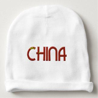 La bandera china de China colorea tipografía Gorrito Para Bebe