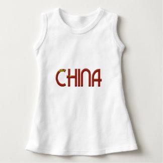La bandera china de China colorea tipografía Vestido