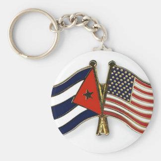 La bandera cubana y la bandera americana llavero redondo tipo chapa
