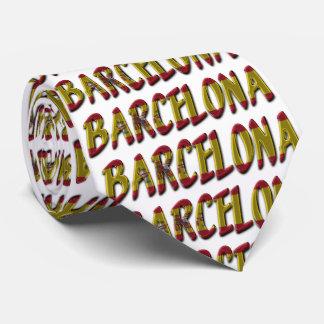 La bandera de Barcelona España colorea tipografía Corbatas Personalizadas