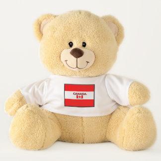 La bandera de Canadá colorea el oso de peluche