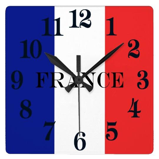 La bandera de Francia o de Tricolore Reloj Cuadrado