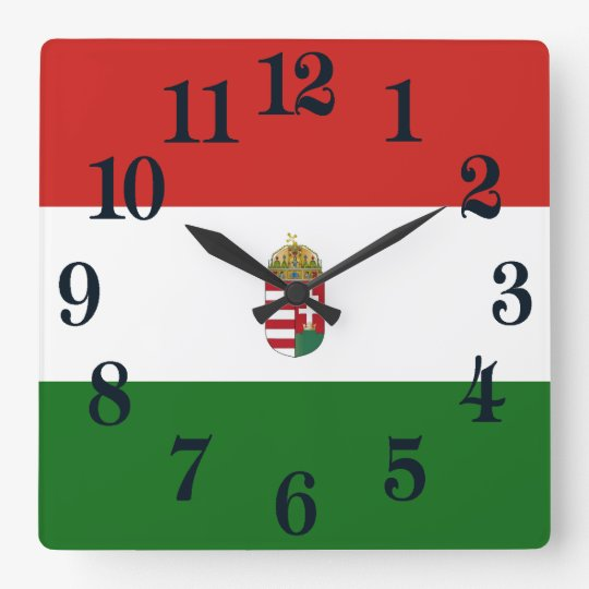 La bandera de Hungría Reloj Cuadrado
