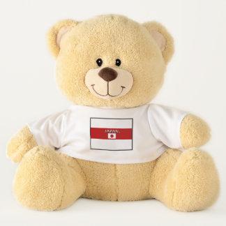 La bandera de Japón colorea el oso de peluche