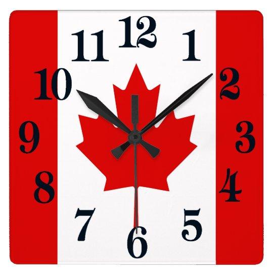 La bandera de la hoja de arce de Canadá Reloj Cuadrado