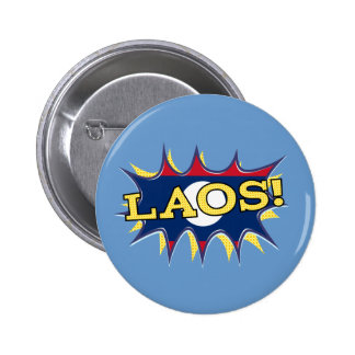 La bandera de Laos Chapa Redonda 5 Cm