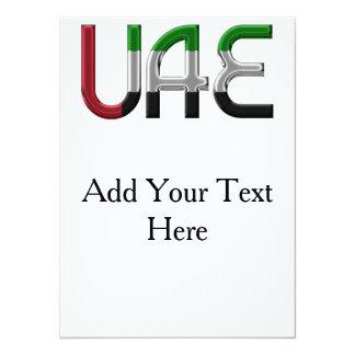 La bandera de los UAE United Arab Emirates colorea Invitación 13,9 X 19,0 Cm