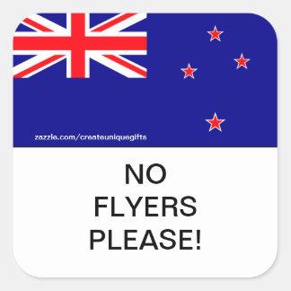 La bandera de Nueva Zelanda ningunos aviadores sat Calcomania Cuadradas Personalizada