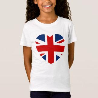 La bandera de Union Jack en forma de corazón Camiseta