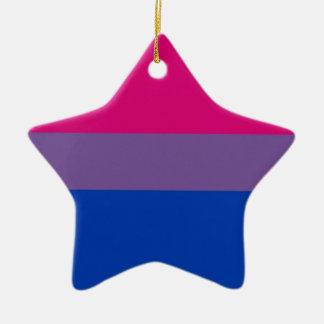 La bandera del BI vuela para el orgullo bisexual Adorno De Cerámica En Forma De Estrella