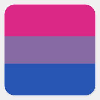 La bandera del BI vuela para el orgullo bisexual Pegatina Cuadrada