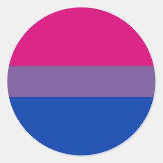 La bandera del BI vuela para el orgullo bisexual Pegatina Redonda