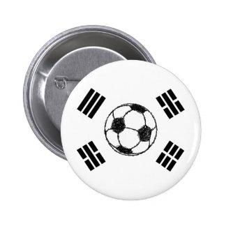 La bandera del bosquejo del fútbol de la Corea del Chapa Redonda De 5 Cm