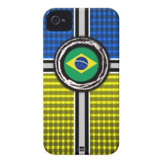 La bandera del Brasil graba en relieve la caja iPhone 4 Case-Mate Funda