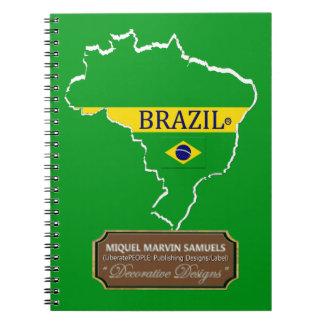 La bandera del esquema del país del Brasil colorea Cuaderno