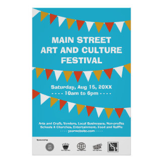 La bandera del festival de la calle de la comunida póster