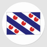 La bandera holandesa de Frisia Etiquetas Redondas