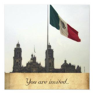 La Bandera Mexica de la estafa del EL Zocalo del Invitación 13,3 Cm X 13,3cm