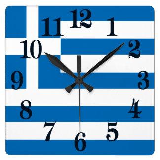 La bandera nacional de Grecia Reloj Cuadrado