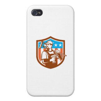 La bandera sin cuerda del escudo de Paintroller iPhone 4 Fundas