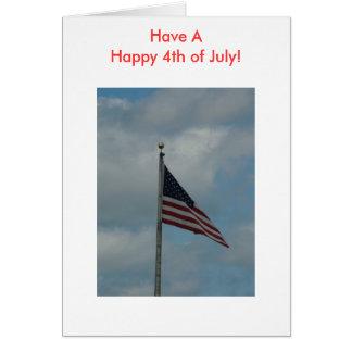 ¡La bandera tiene un feliz el 4 de julio Tarjeton