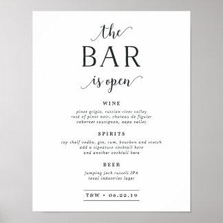 La barra es muestra abierta del menú de la barra póster