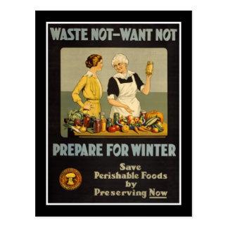 La basura del vintage de la postal No-Quiere no