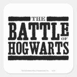 La batalla de Hogwarts Calcomania Cuadradas Personalizadas