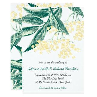 La baya del saúco florece el boda rústico del invitación 12,7 x 17,8 cm
