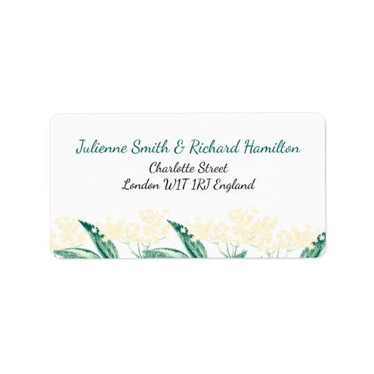 La baya del saúco florece la invitación rústica etiquetas de dirección