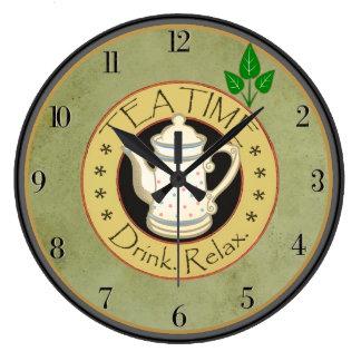La bebida del tiempo del té se relaja reloj redondo grande