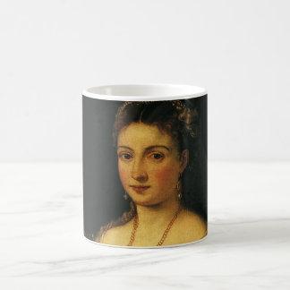 La Bella, duquesa de Urbino por Titian Taza