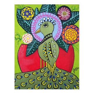 La belleza de la postal del arte del pavo real de