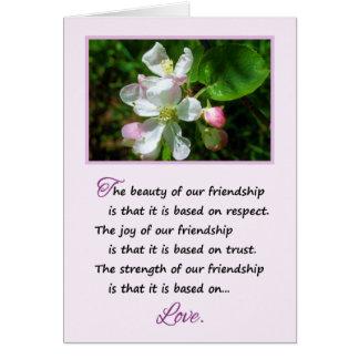 La belleza de nuestra amistad… tarjeta de felicitación