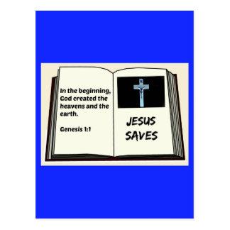 """La biblia """"Jesús ahorra"""" serie: 1:1 de la génesis Postal"""