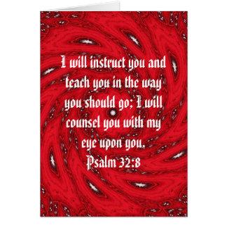 La biblia versifica 32:8 inspirado del salmo de la tarjeta de felicitación