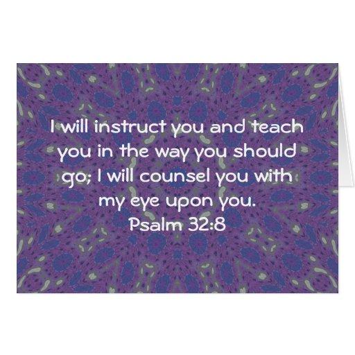 La biblia versifica 32:8 inspirado del salmo de la tarjeton