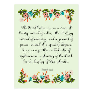 La biblia versifica el arte - 61:3 de Isaías Postal
