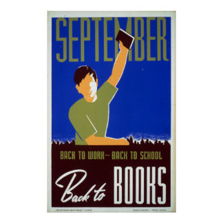 La biblioteca de septiembre del vintage reserva la póster