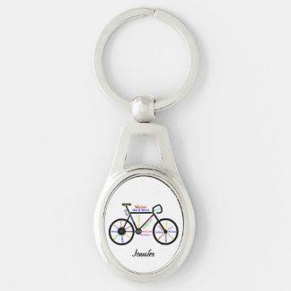La bici de motivación redacta nombre del llavero plateado ovalado
