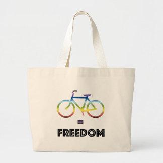 La bici iguala la libertad bolso de tela gigante