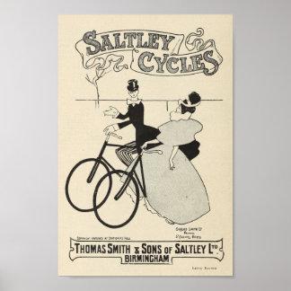 La bicicleta 1898 del vintage Saltley completa un Póster