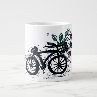 la bicicleta abstracta asalta la decoración taza grande