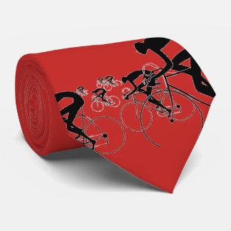 La bicicleta retra siluetea el rojo 1986 corbatas personalizadas