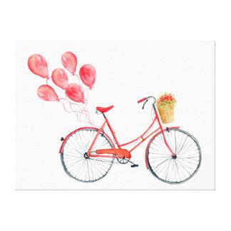 La bicicleta roja de la acuarela hincha a la impresión en lienzo