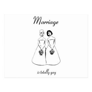 La boda es totalmente gay - los pares femeninos postal