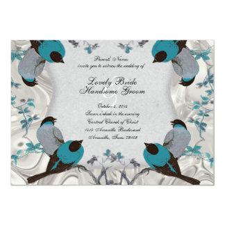 La bodas de plata del Birdbath azul de los pájaros Invitación 12,7 X 17,8 Cm
