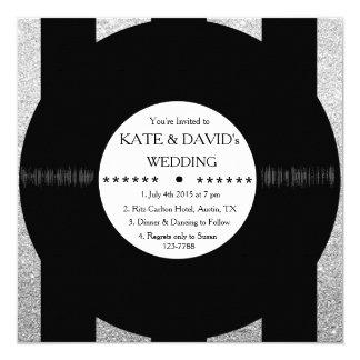 La bodas de plata elegante del disco de vinilo invitación 13,3 cm x 13,3cm