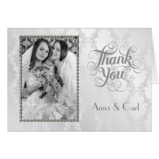 La bodas de plata gay elegante le agradece tarjeta pequeña
