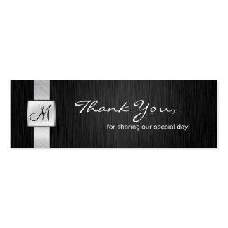 La bodas de plata negra y elegante le agradece tarjetas de visita mini